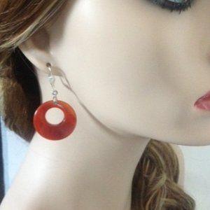 Red/Orange Agate Quartz Earrings